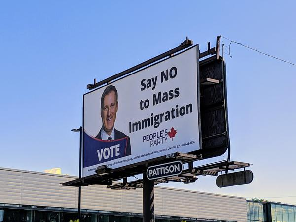 Faith Goldy & The Kosher Sandwich billboard say no to mass immigration maxime bernier republican liberal elections Donald Trump democrat conservative Canada  us canada society culture politics government politics other news europe